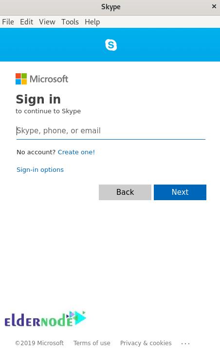 Sign in Skype Debian desktop
