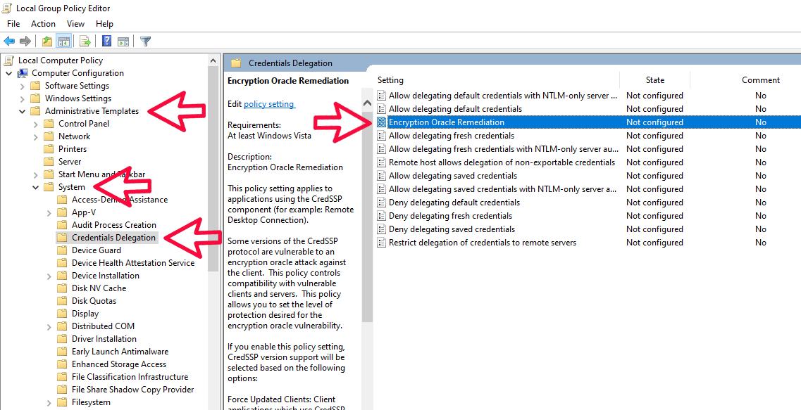 Fix CredSSP Encryption Oracle error in remote3