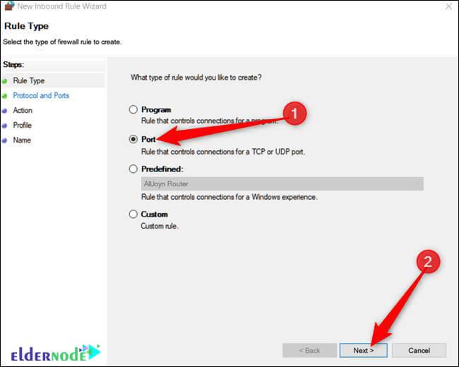 rule type settings in Windows firewall