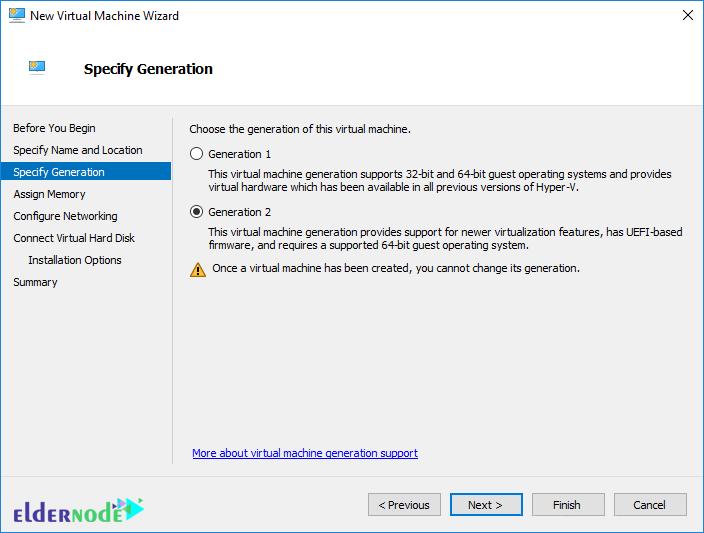 specify generation in Windows Server 2019