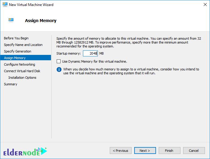assign memory to install Windows Server 2019