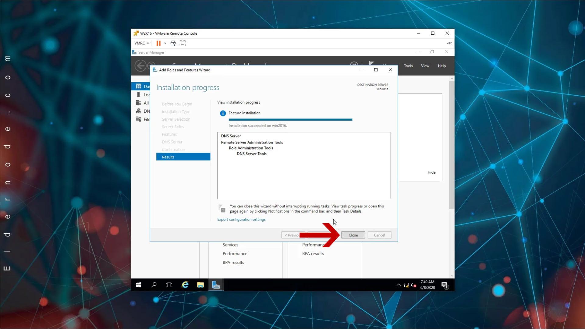 dns server on windows server 2016 installed