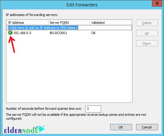 IP address of the DNS server