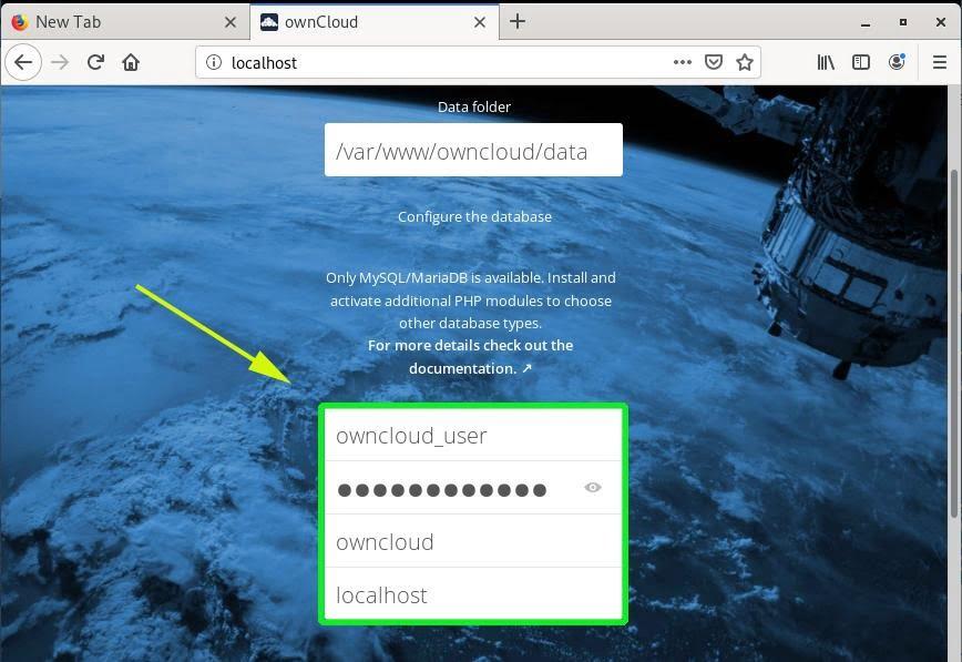 owncloud post install on debian 10