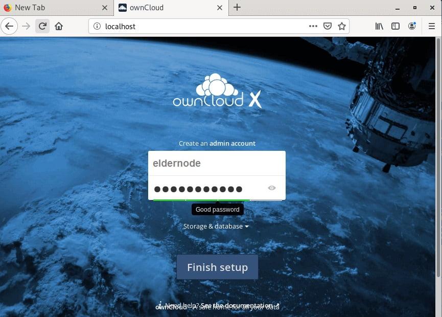 owncloud page view oon debian 10
