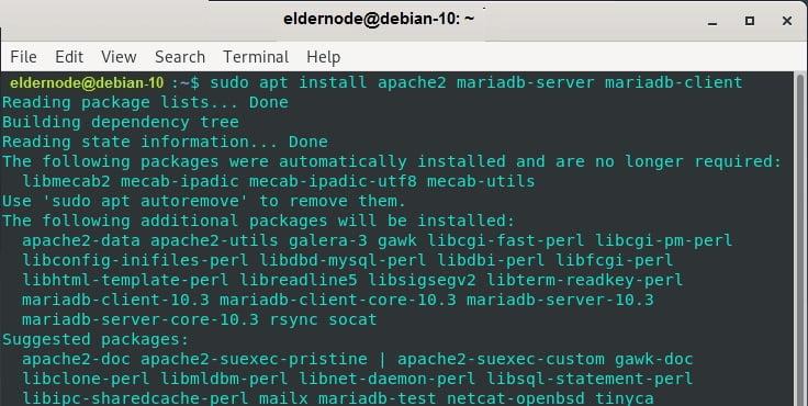 install apache and mariadb on debian 10