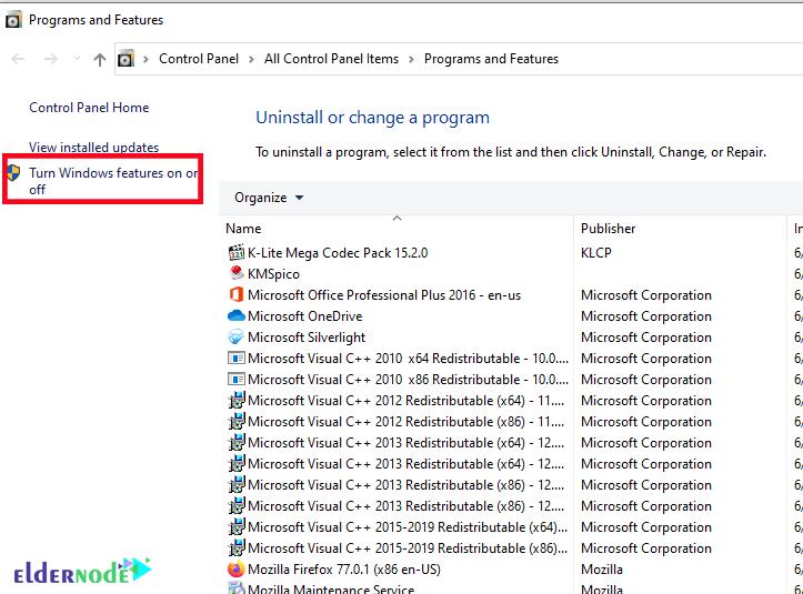 Installing IIS in Windows 10-2