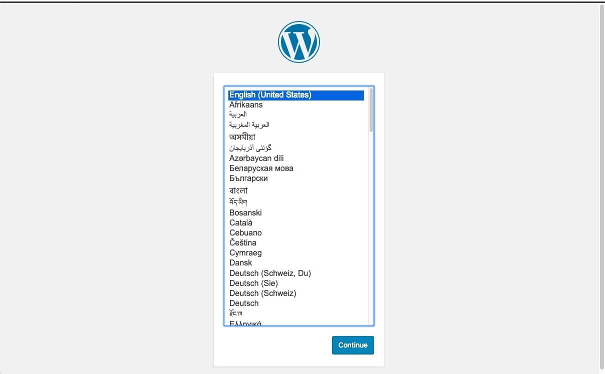 Choose WordPress Install Language