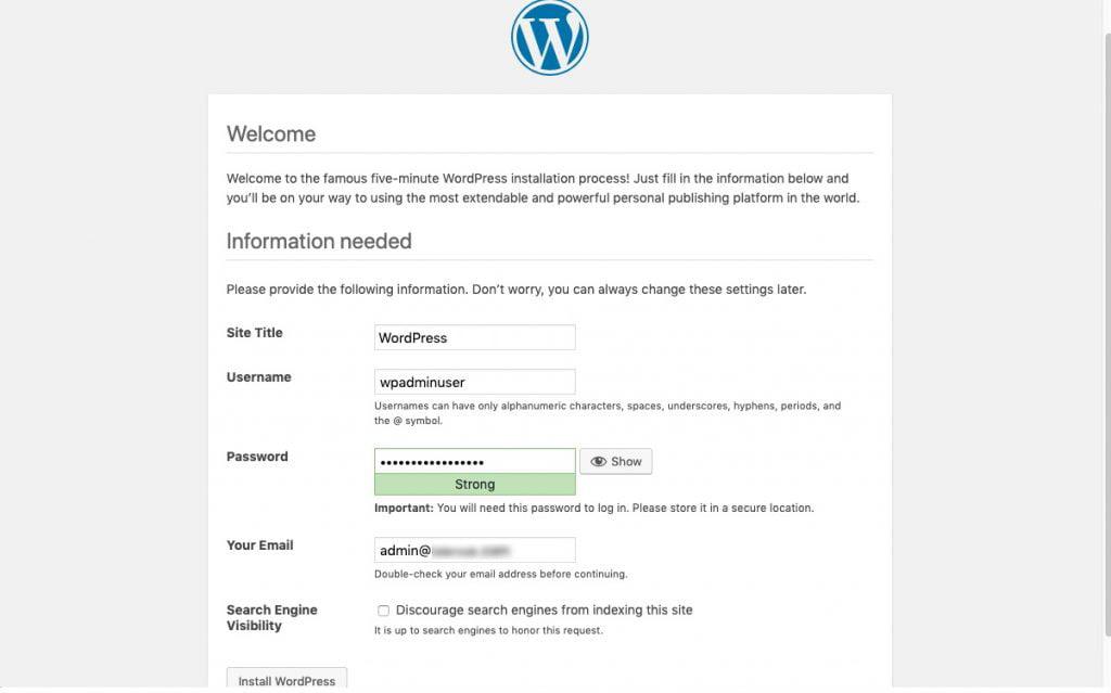 wordpress setup site info