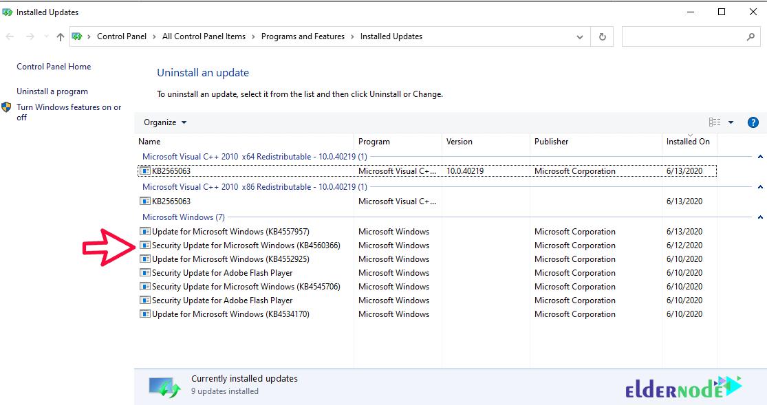 how to revert windows update