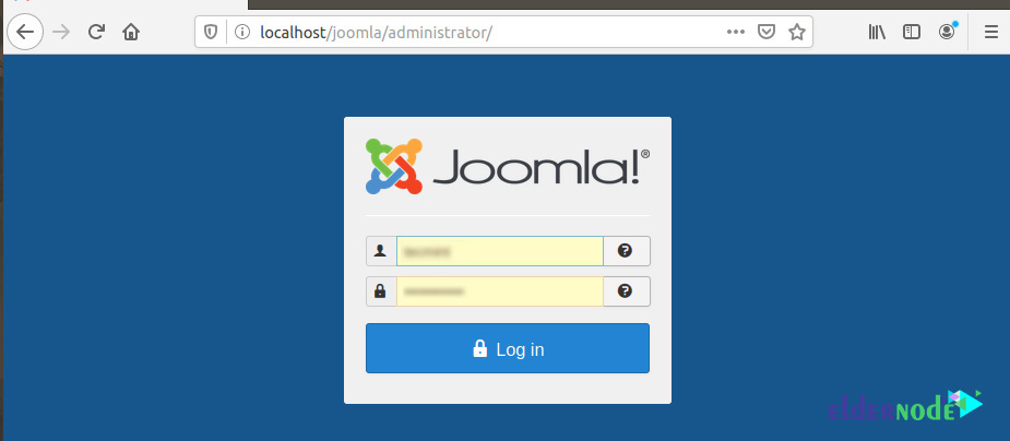 joomla login page on debian 10