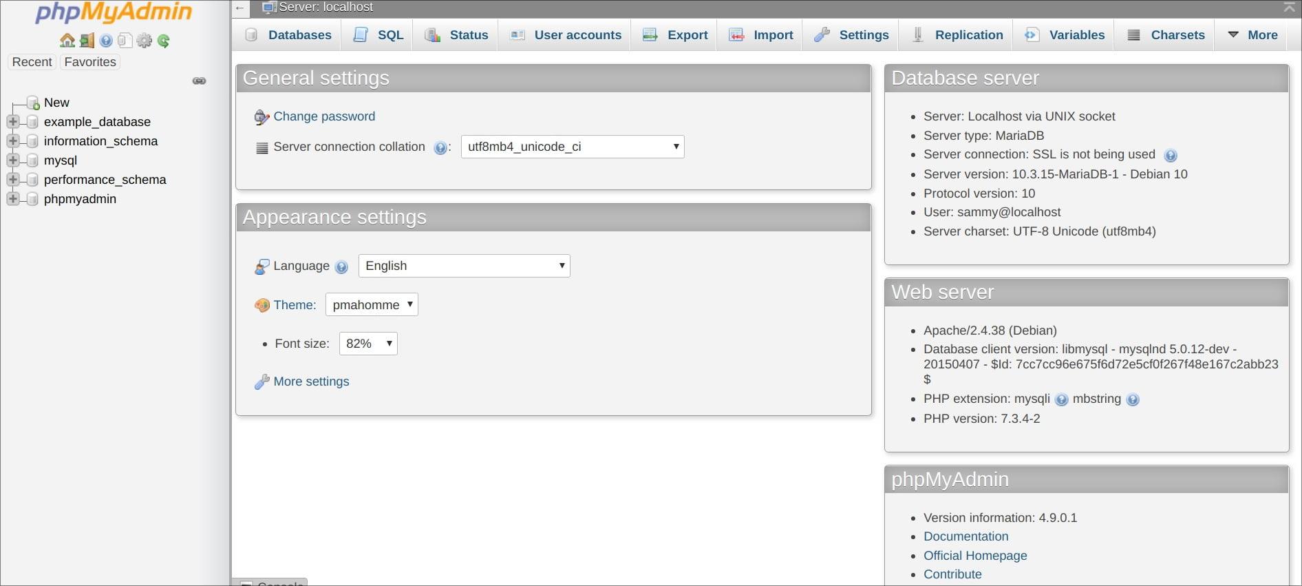 phpmyadmin interface view