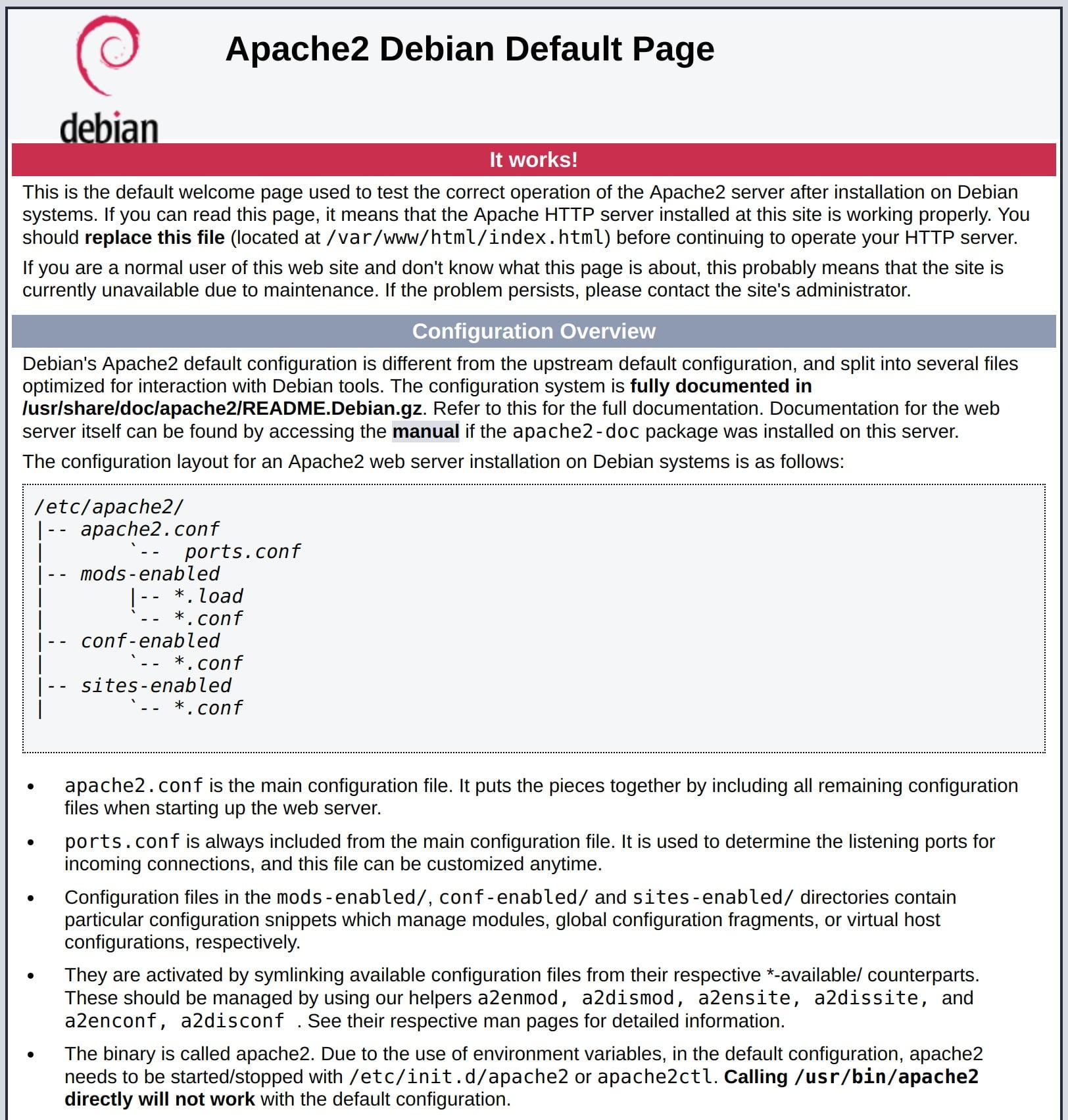 default Debian 10 Apache web page