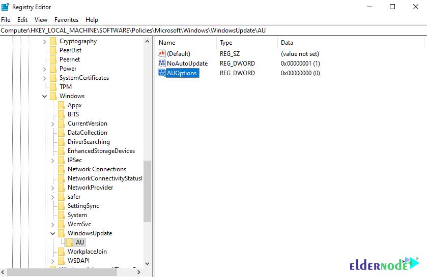 Windows 10 update by registry editor