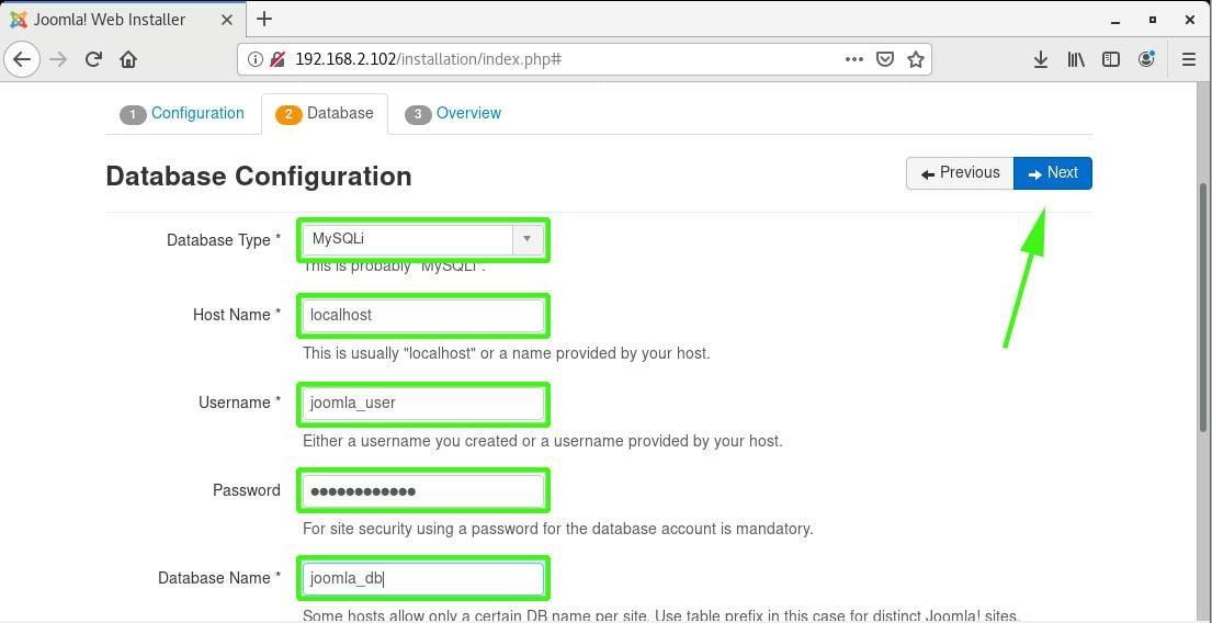 The Settings Joomla Database