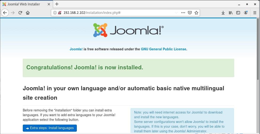 final installation of Joomla