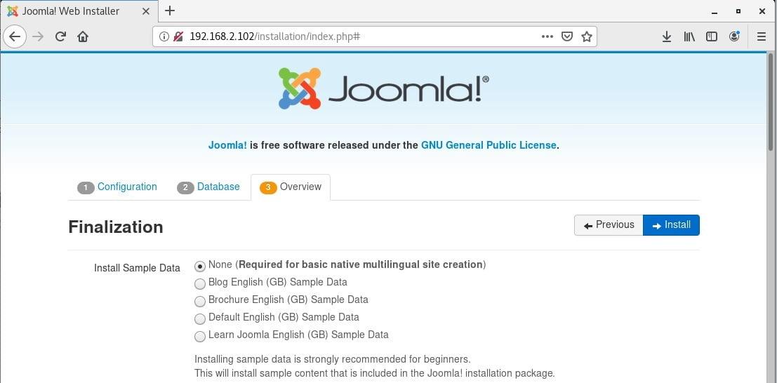 The installation of Joomla
