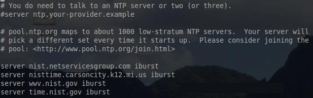 servers of NTP