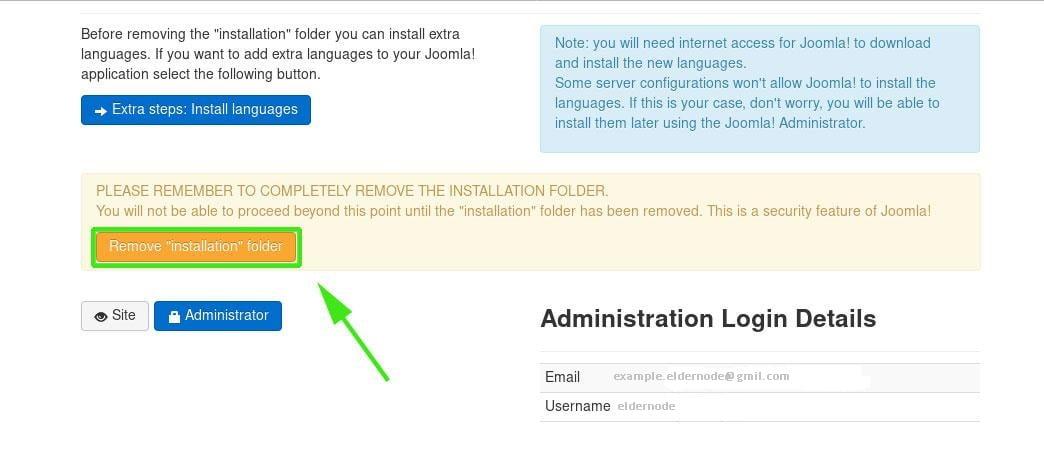 Remove Joomla Installation Directory