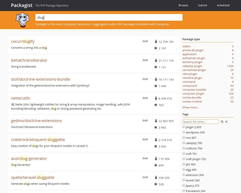 packagist slug search page