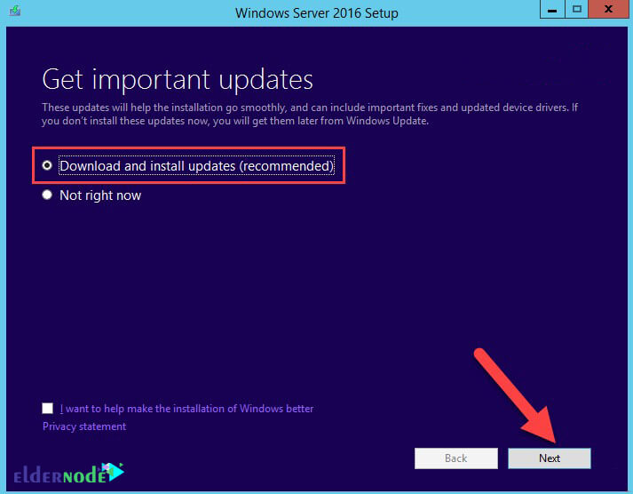 Download and install updates Windows Server 2016