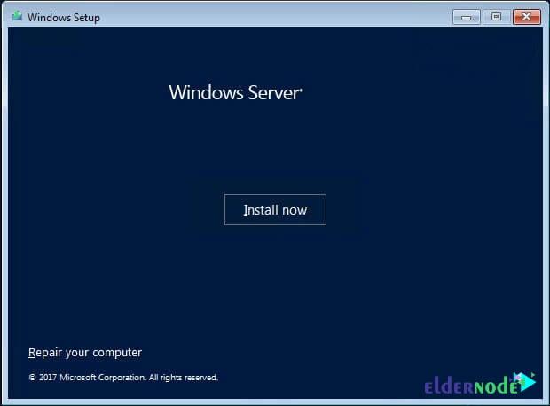 Installation progress in Windows Server 2019
