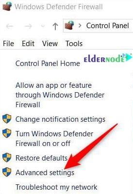 advanced settings of Windows defender firewall