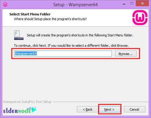 how to select folder to install wamp server