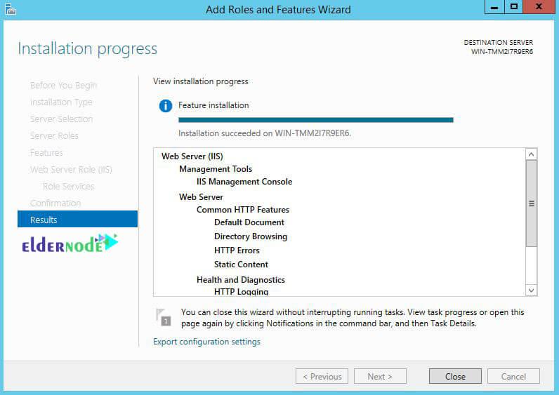 install IIS web server on the RDP admin 2016