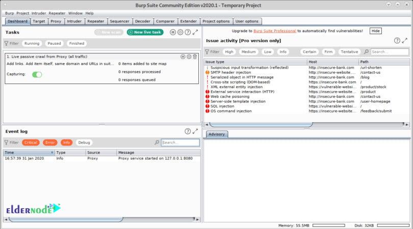 BurpSuite main screen