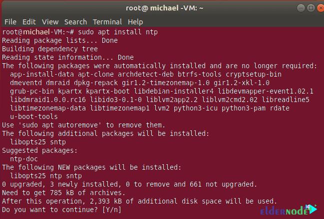 NTP server install command on Ubuntu 20.04