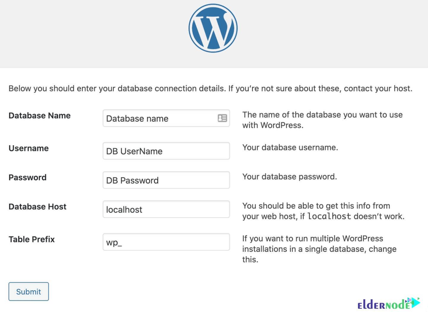 database information in wordpress installation