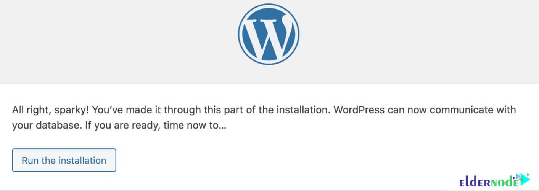 how to run the installation wordpress