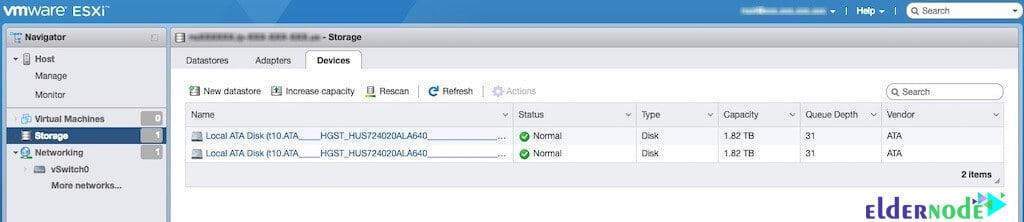 storage tab settings to create vm in esxi