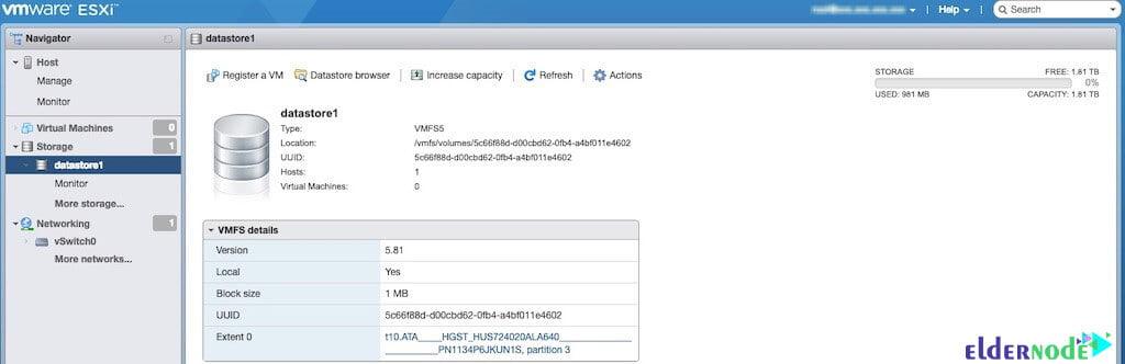 datastore settings to create vm in esxi 6.5