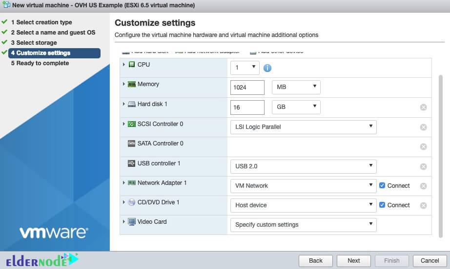 custom settings in esxi 6.5