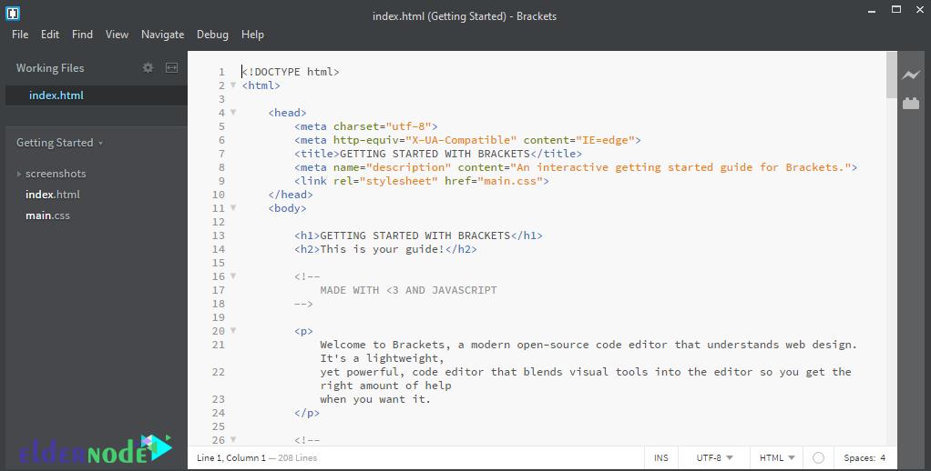 brackets code editor environment