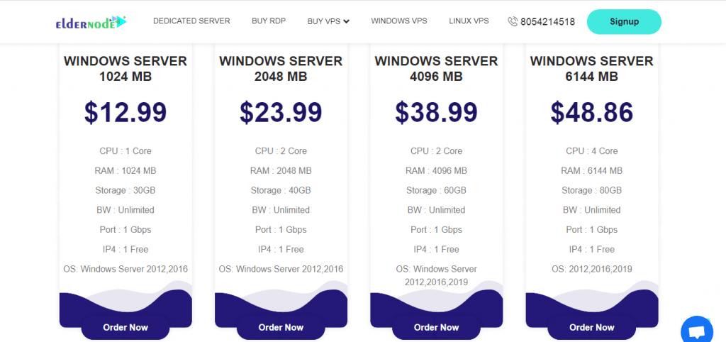 Types of Windows VPS server plans