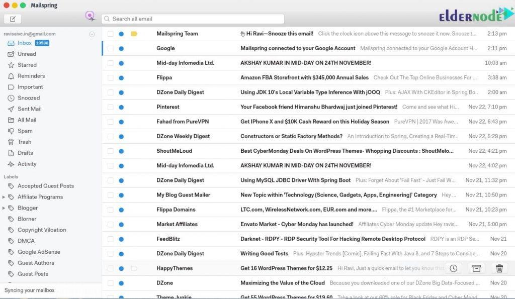 Mailspring Dashboard