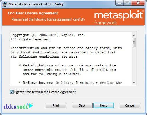 license agreement of metasploit on windows