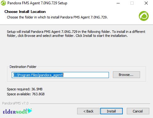 destination path to install pandorafms on windows