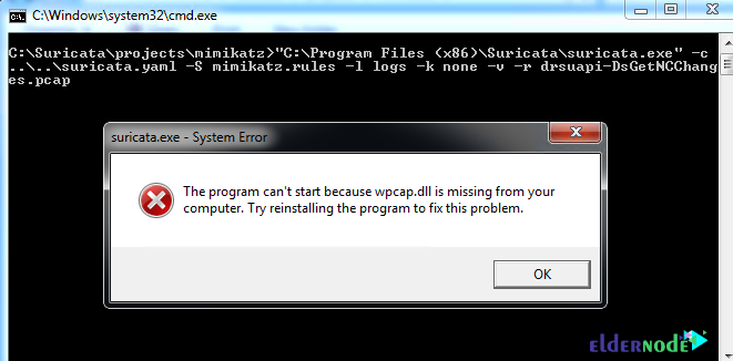 error message in installing suricata on windows