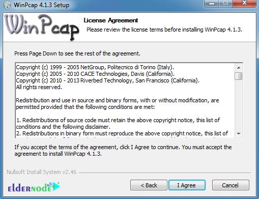 winpcap license agreement on windows