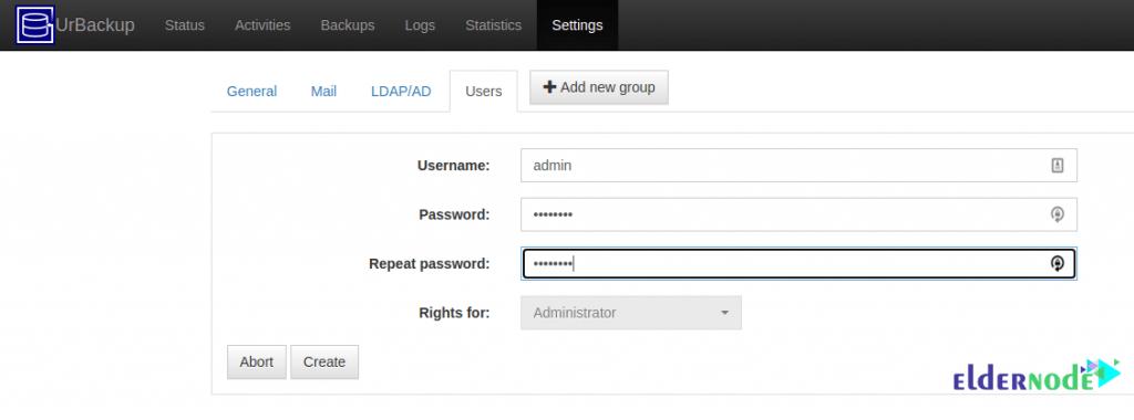adding admin user with urbackup