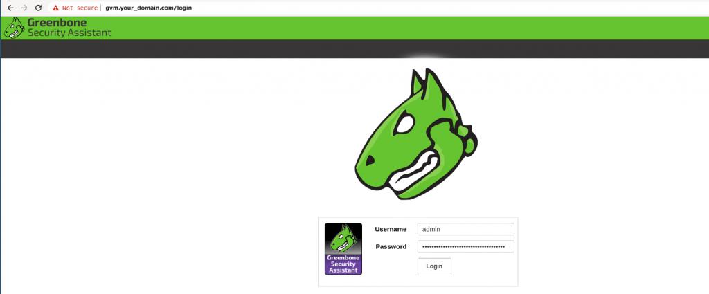 openvas login page on debian 10