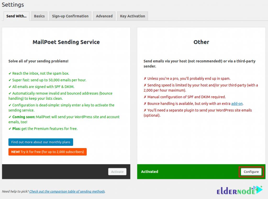 mailpoet configure send settings