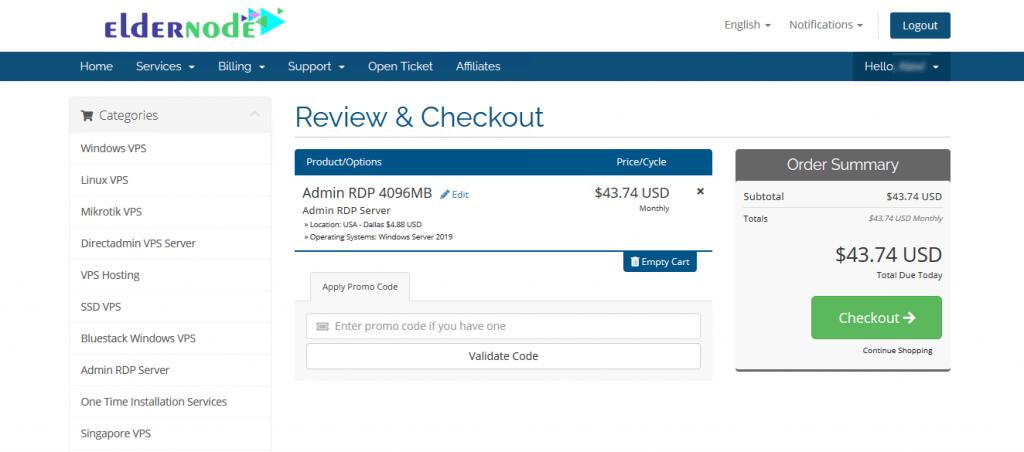 review and order rdp server on eldernode