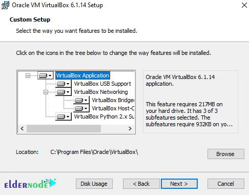 customization settings of oracle virtualbox