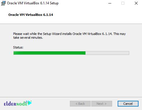 installing progress of Oracle VM VirtualBox