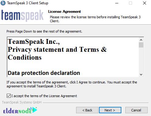 license agreement teamspeak client